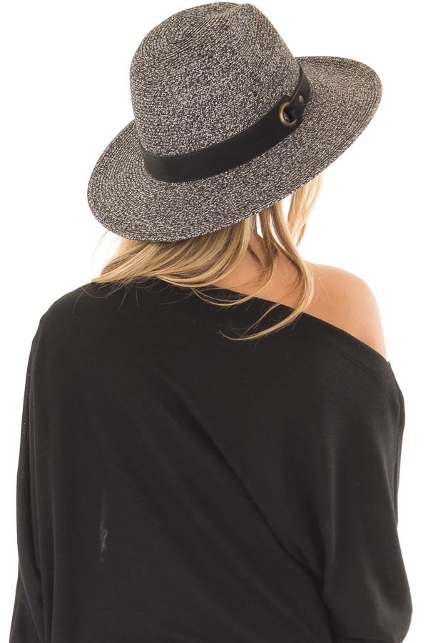 Black Two Tone Straw Hat with Black Faux Leather Band back side