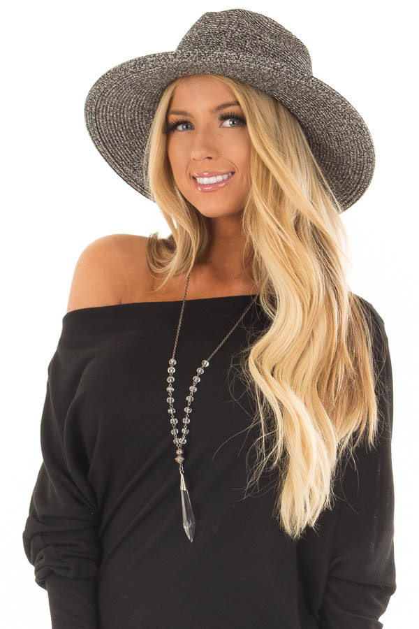 Black Two Tone Straw Hat with Black Faux Leather Band front