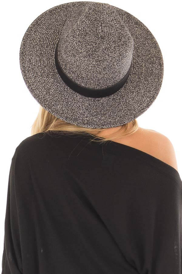 Black Two Tone Straw Hat with Black Faux Leather Band back