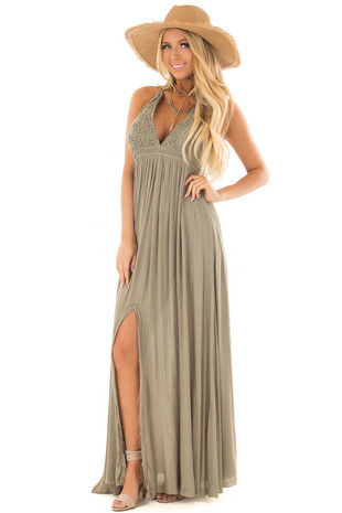 Olive Halter Top Maxi Dress with Lace Details front full body