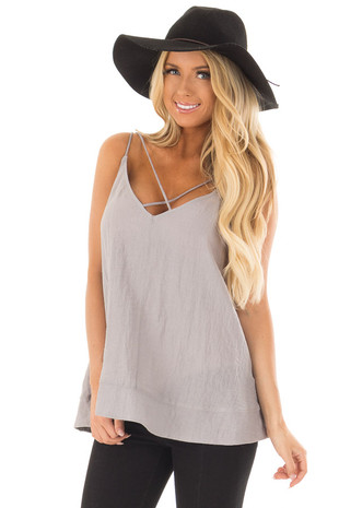 Grey Criss Cross V Neck Tank Top front closeup