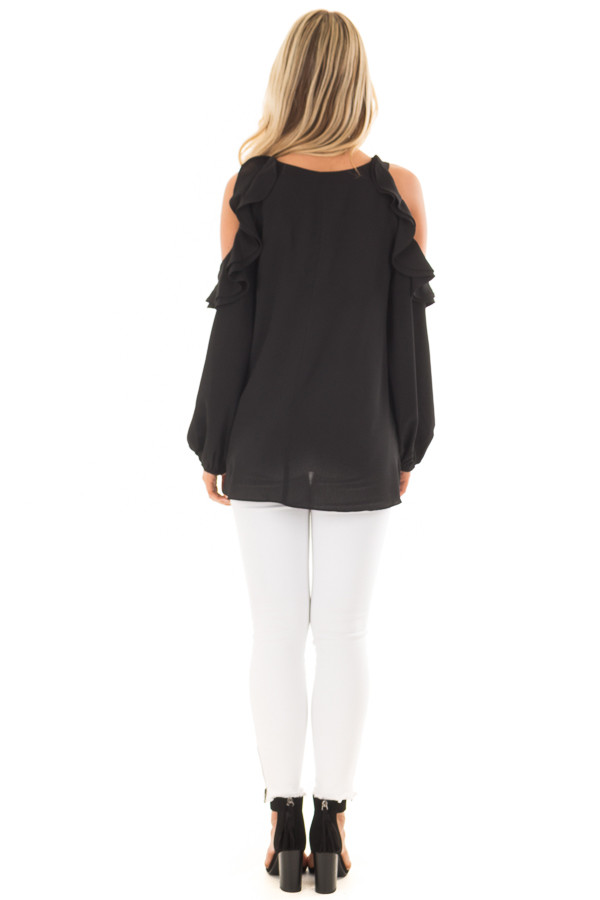 Black Cold Shoulder Top with Ruffle Detail back full body