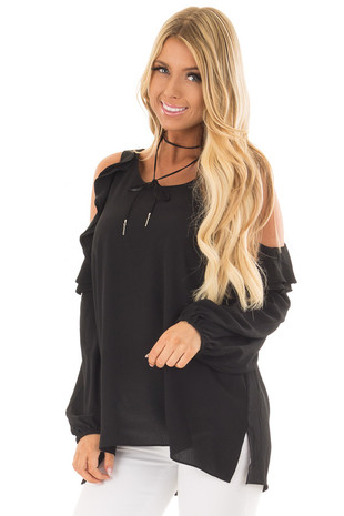 Black Cold Shoulder Top with Ruffle Detail front close up