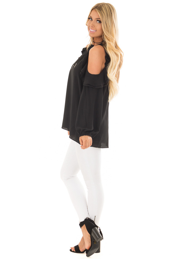 Black Cold Shoulder Top with Ruffle Detail side full body