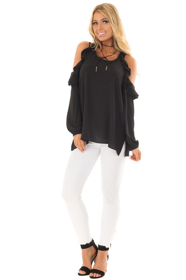 Black Cold Shoulder Top with Ruffle Detail front full body