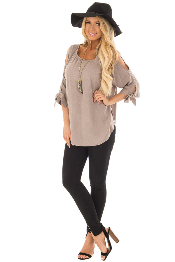 Latte Cold Shoulder Top with Sleeve Tie Detail front full body