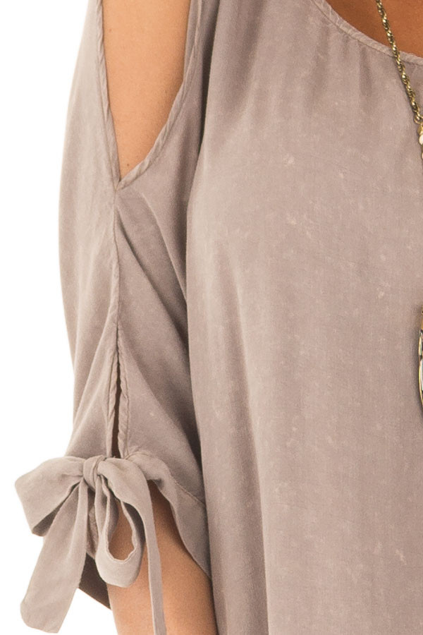 Latte Cold Shoulder Top with Sleeve Tie Detail detail