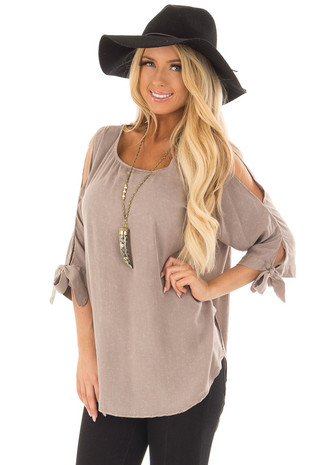 Latte Cold Shoulder Top with Sleeve Tie Detail front close up