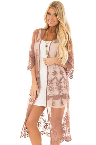 Mocha Sheer Lace Long Kimono front close up