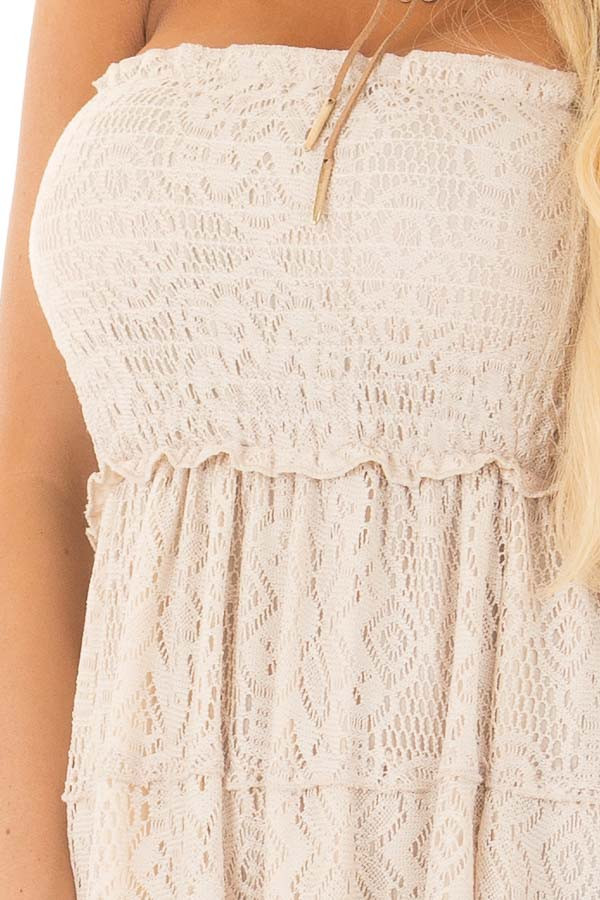 Natural Tiered Lace Strapless Maxi Dress detail