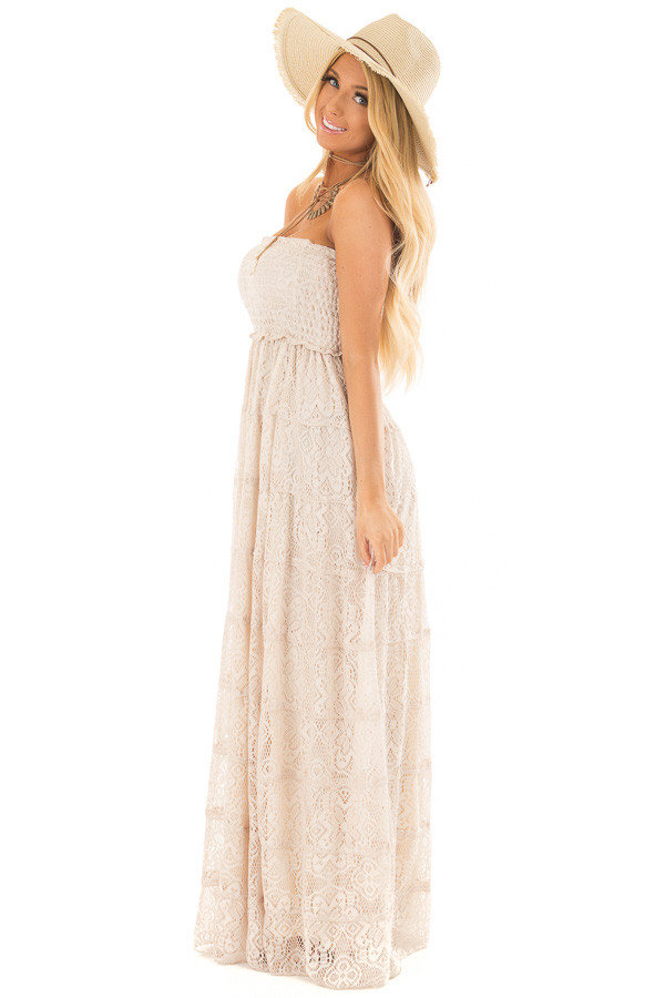 Natural Tiered Lace Strapless Maxi Dress side full body
