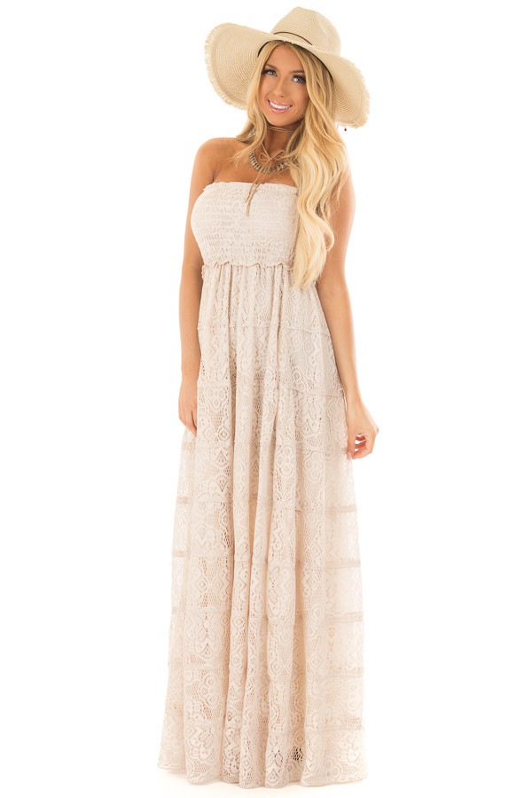 Natural Tiered Lace Strapless Maxi Dress front full body