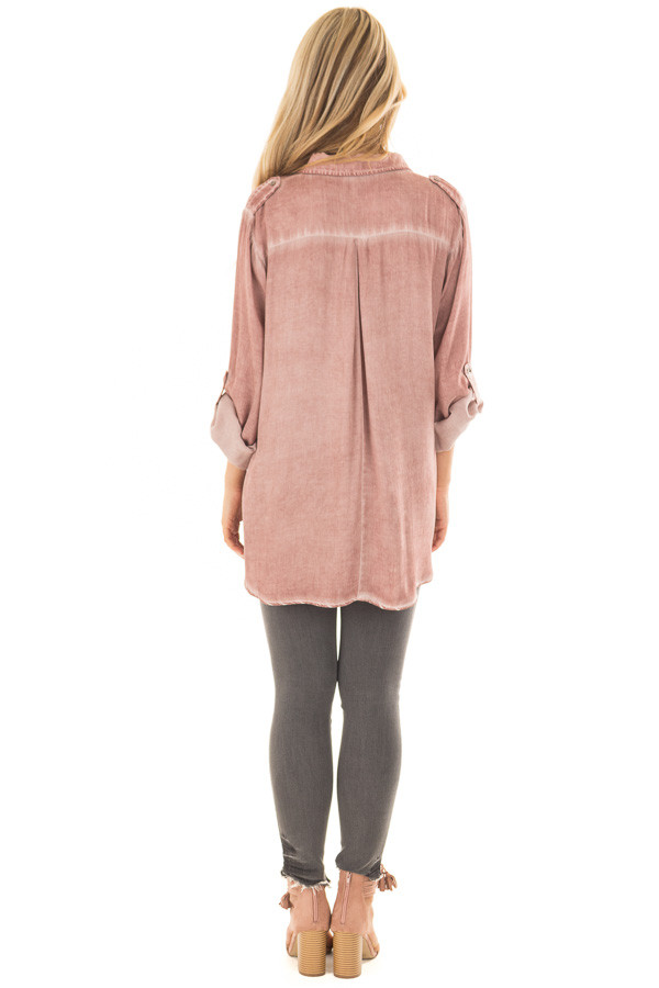Mauve Mineral Wash Lace Up Long Sleeve Top back full body