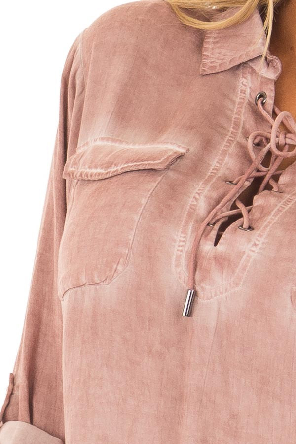 Mauve Mineral Wash Lace Up Long Sleeve Top detail