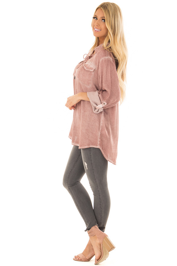 Mauve Mineral Wash Lace Up Long Sleeve Top side full body
