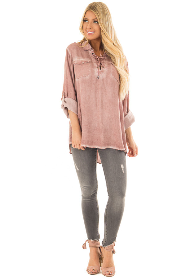 Mauve Mineral Wash Lace Up Long Sleeve Top front full body
