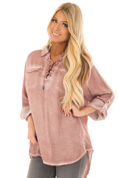 Mauve Mineral Wash Lace Up Long Sleeve Top front close up
