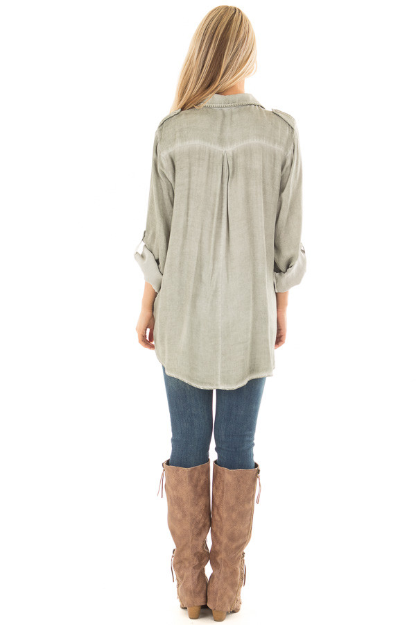 Faded Olive Mineral Wash Lace Up Long Sleeve Top back full body