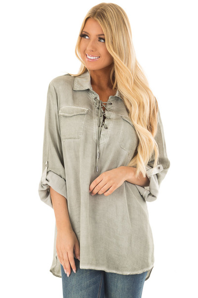 Faded Olive Mineral Wash Lace Up Long Sleeve Top front close up
