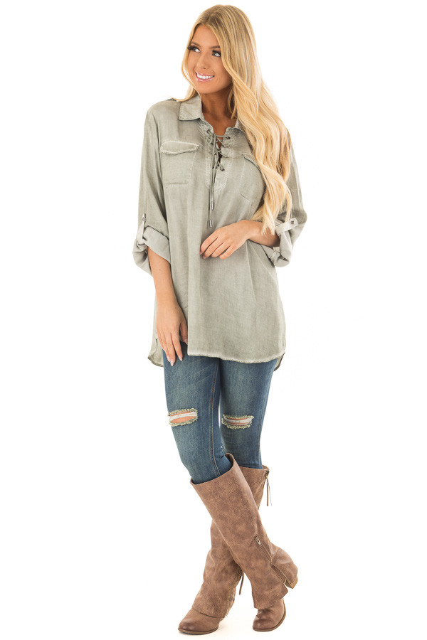 Faded Olive Mineral Wash Lace Up Long Sleeve Top front full body