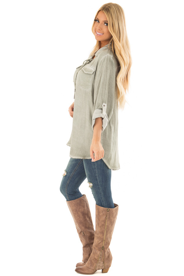 Faded Olive Mineral Wash Lace Up Long Sleeve Top side full body