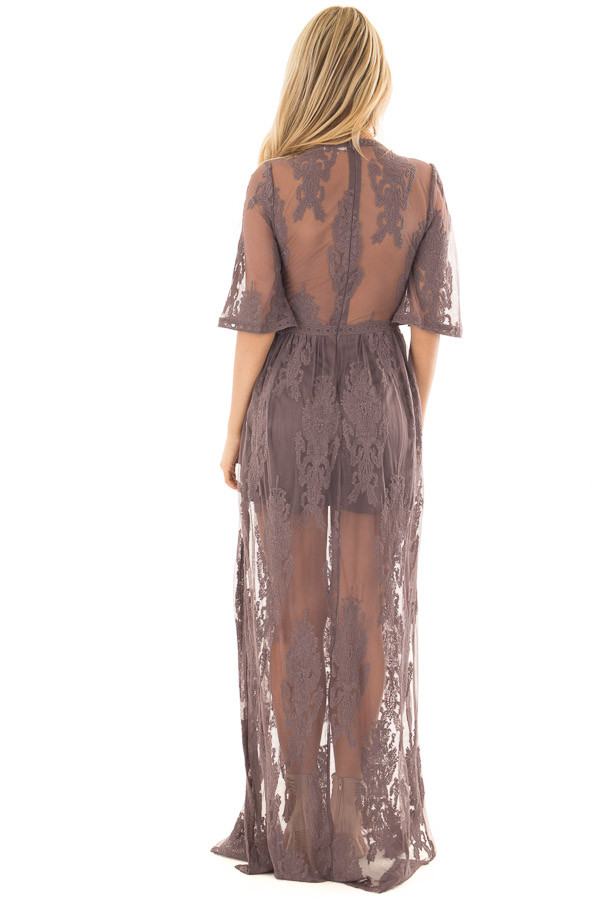 Midnight Grey Embroidered Maxi Dress with Plunging V Neck back full body