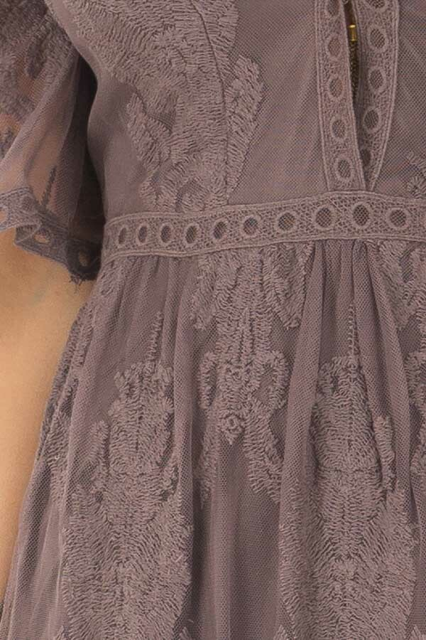 Midnight Grey Embroidered Maxi Dress with Plunging V Neck detail