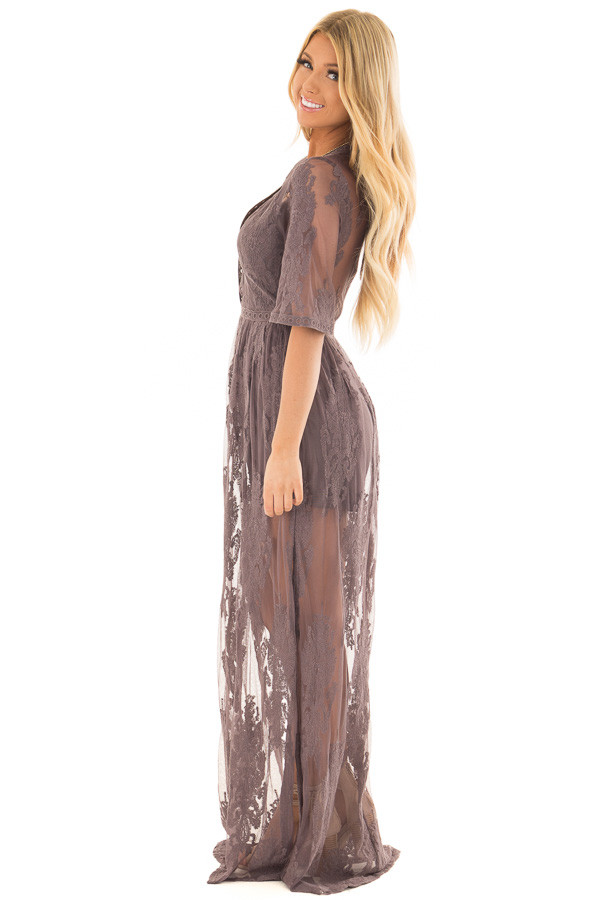 Midnight Grey Embroidered Maxi Dress with Plunging V Neck side full body