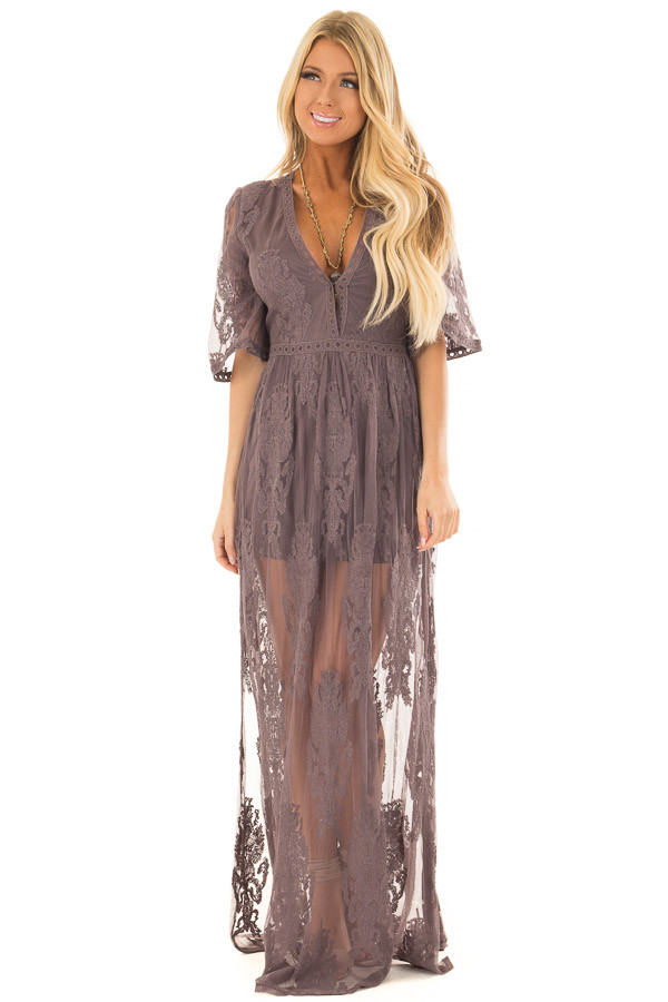 Midnight Grey Embroidered Maxi Dress with Plunging V Neck front full body