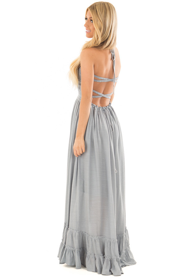 Misty Blue Woven Halter Maxi Dress back side full body