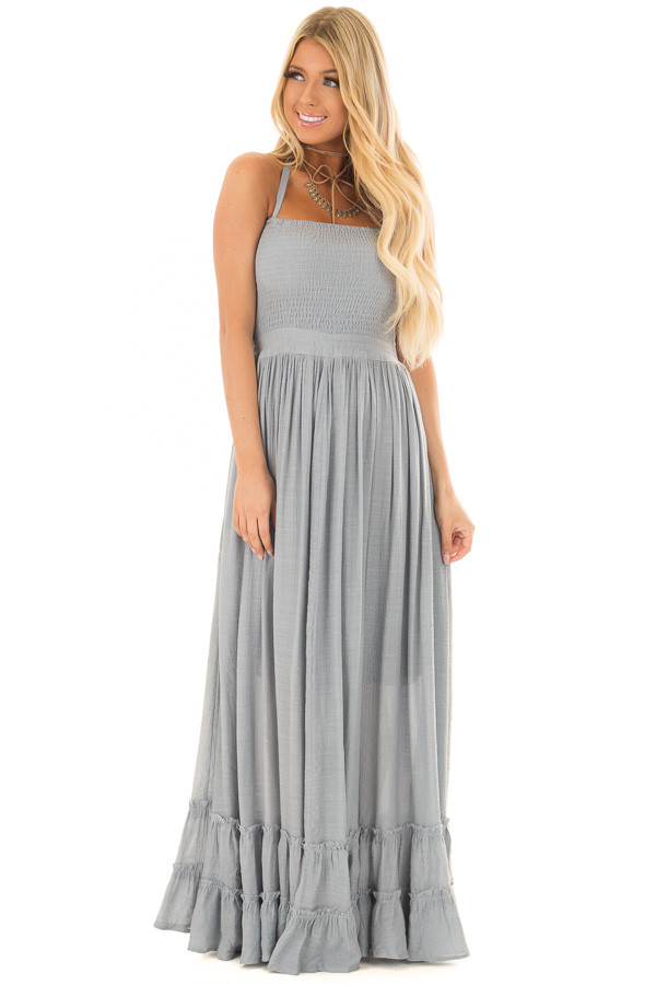 Misty Blue Woven Halter Maxi Dress front full body