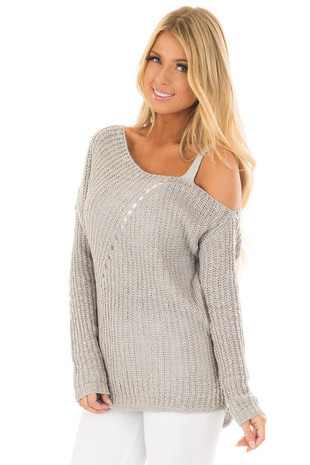 Cloud Grey Cold Shoulder Sweater front close up