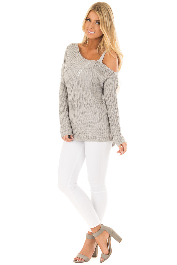 Cloud Grey Cold Shoulder Sweater front full body