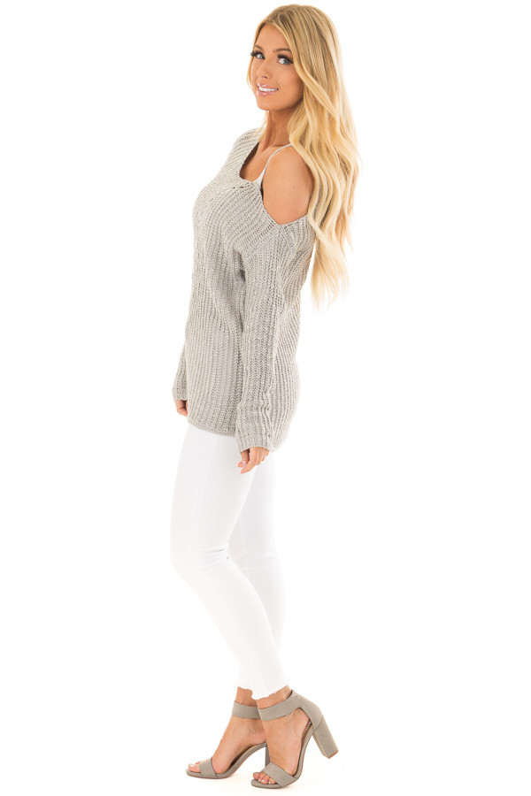 Cloud Grey Cold Shoulder Sweater side full body