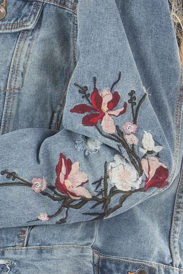 Medium Wash Distressed Denim Jacket With Embroidery Detail detail