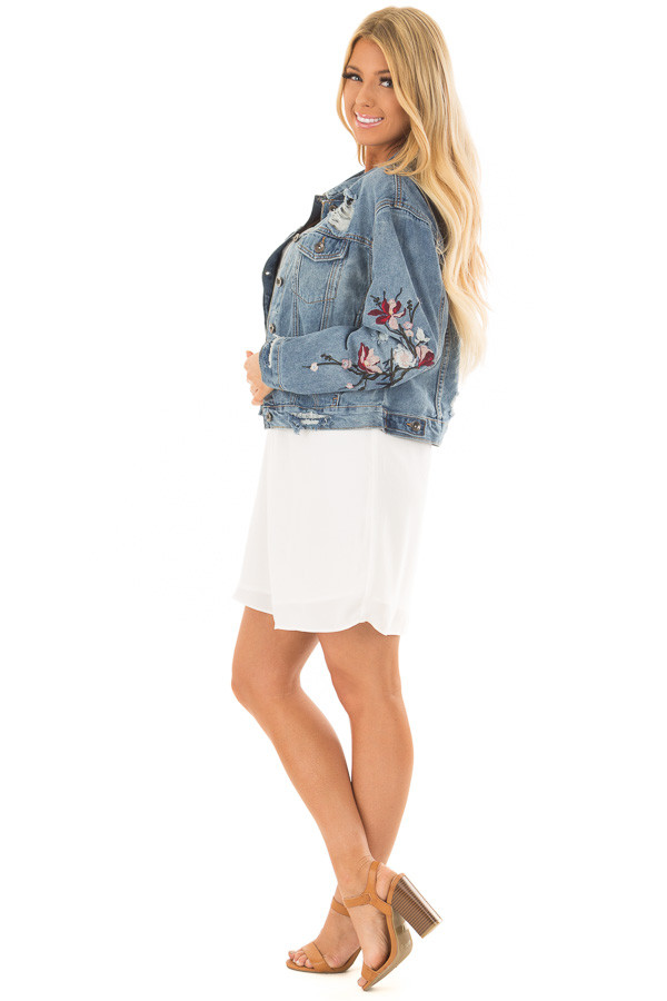 Medium Wash Distressed Denim Jacket With Embroidery Detail side full body