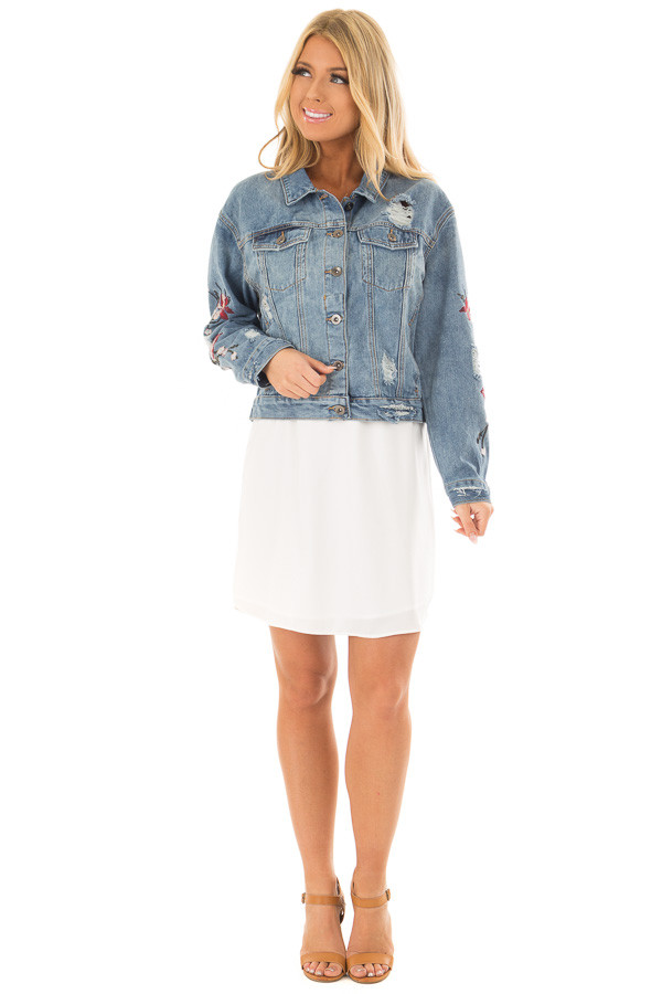 Medium Wash Distressed Denim Jacket With Embroidery Detail front full body