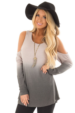 Grey to Charcoal Dip Dye Cold Shoulder Knit Top front close up