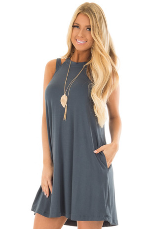 Teal Green Cutout Halter Shift Dress with Side Pockets front close up