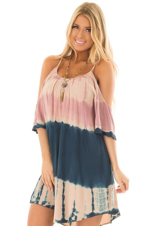 Mauve and Navy Tie Dye Cold Shoulder Dress front close up