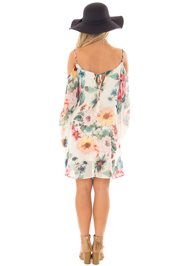 Ivory Floral Print Dress with Cold Shoulders back full body