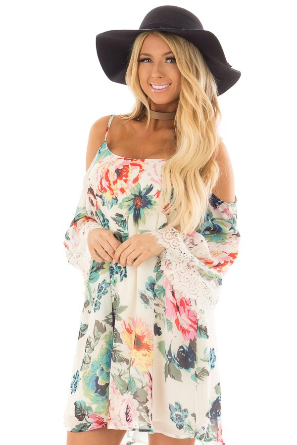 Ivory Floral Print Dress with Cold Shoulders front close up