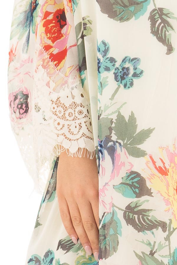 Ivory Floral Print Dress with Cold Shoulders detail