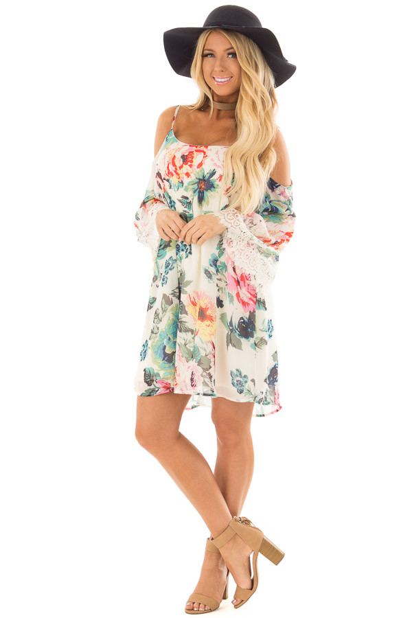 Ivory Floral Print Dress with Cold Shoulders front full body