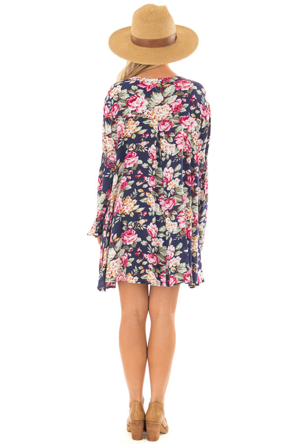Navy Floral Tunic Top back full body