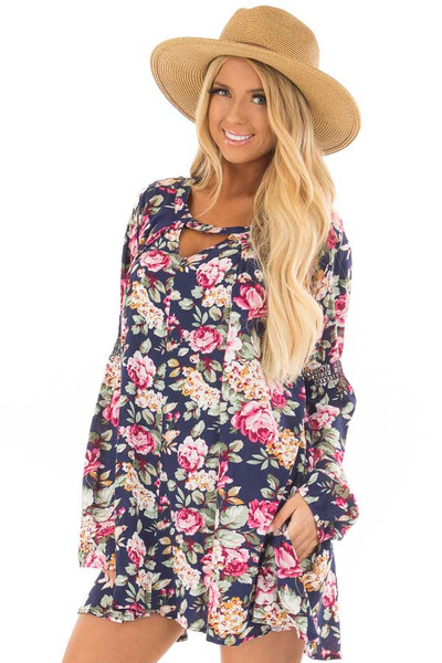 Navy Floral Tunic Top front close up
