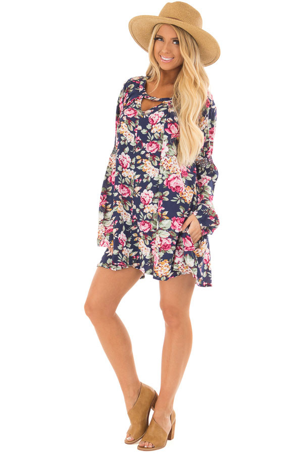 Navy Floral Tunic Top front full body