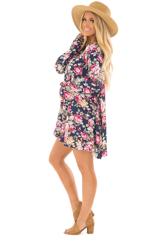 Navy Floral Tunic Top side full body