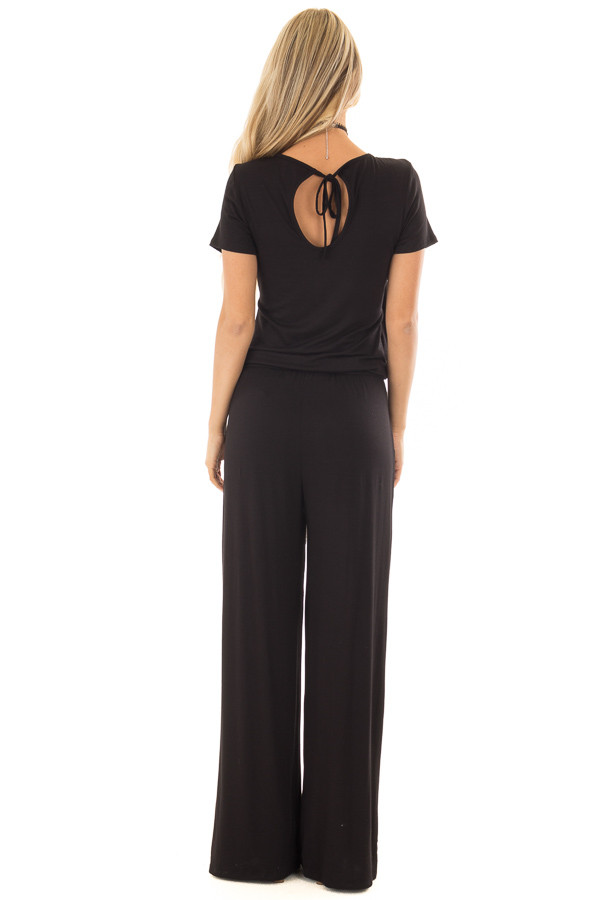 Black Short Sleeve Jumpsuit with Gathered Waist and Pockets back full body
