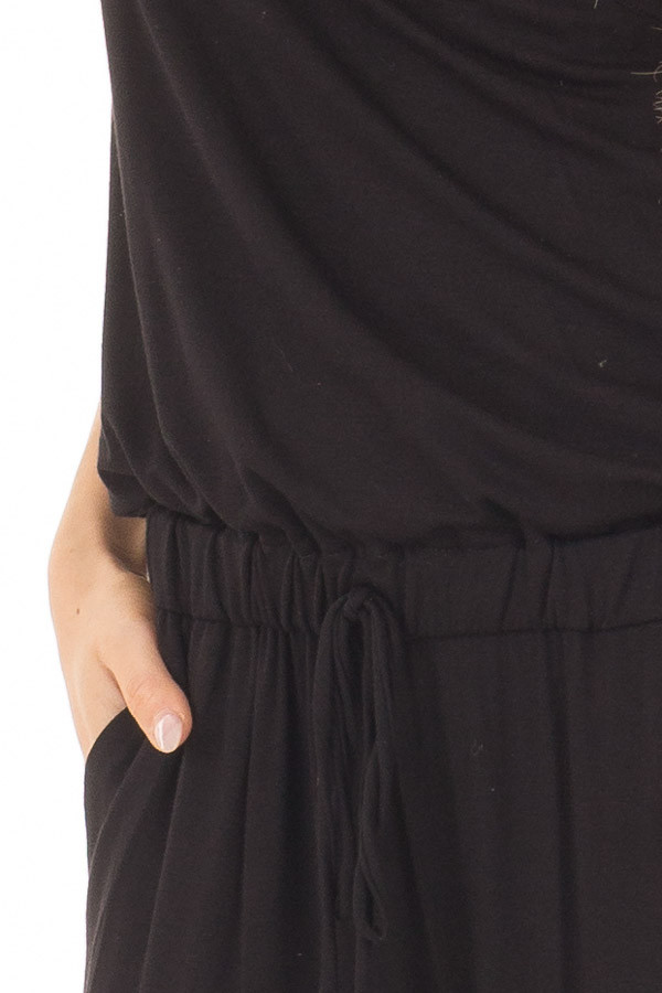Black Short Sleeve Jumpsuit with Gathered Waist and Pockets detail